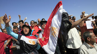protesters in Tahrir Square of Egypt, protest against military rulers