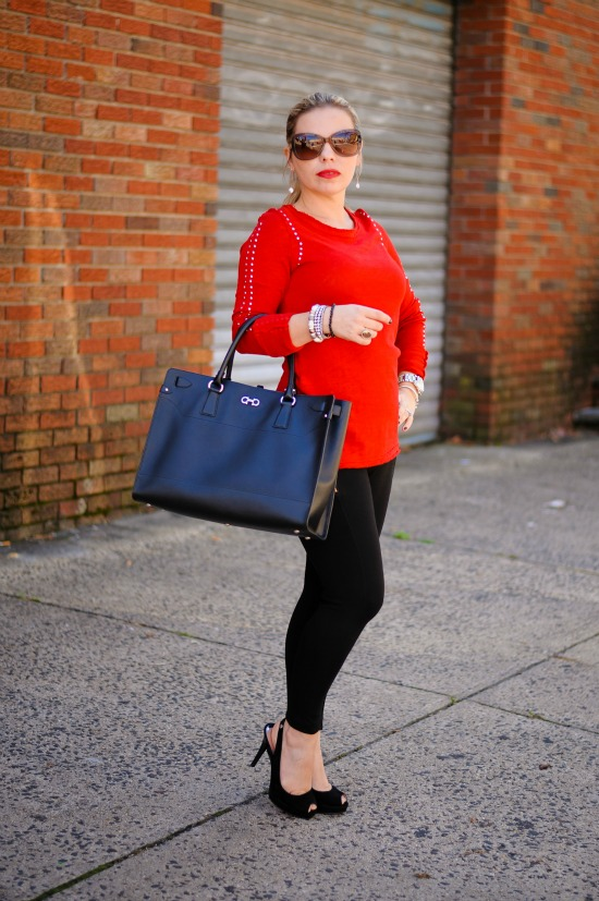 Skinny Black Pants from Zara, Zara Red Studded Sweater, Michael Kors York Peep-Toe Slingback, Salvatore Ferragamo Briana Large Tote, Michael Kors Mid-Size Silver Color Golden Stainless Steel Camille Chronograph, Burberry Oversized Round Check Sunglasses