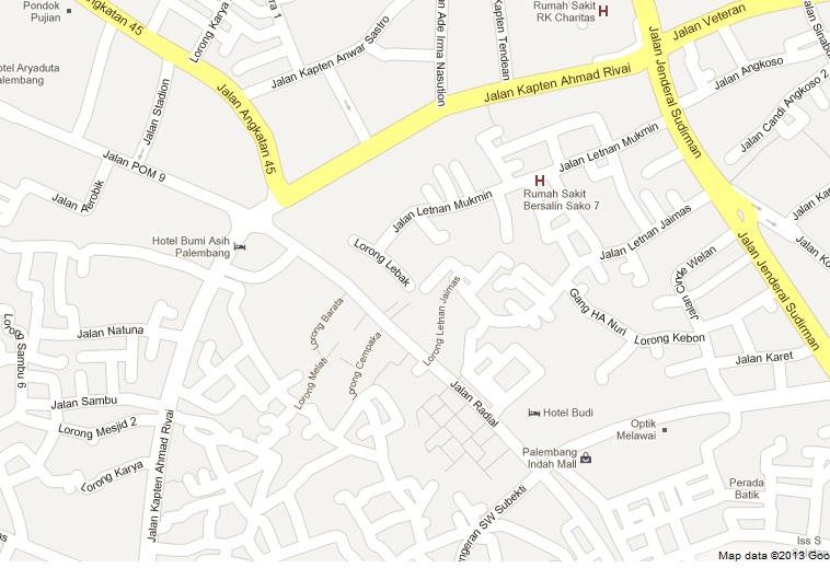 peta kota palembang untuk membeli furniture perabot mebel