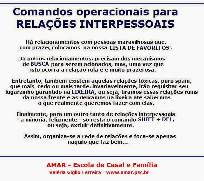 Comandos operacionais para relações!