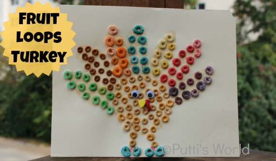 Thanksgiving kids craft Fruit Loops Turkey