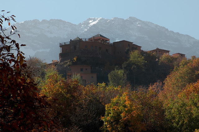 Kasbah du Toubkal with autumnal trees, Imlil, Morocco