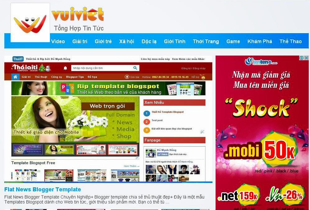 Share template blogspot tin tức giống Vui Việt