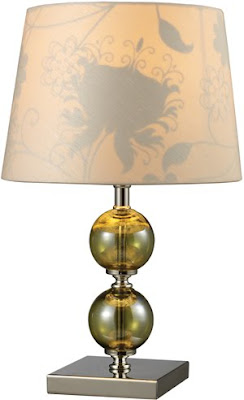Dimond D1610 Trendsitions 1 Light Sharon Hill Short Table Lamp In Green Smoked Glass & Polished Nickel