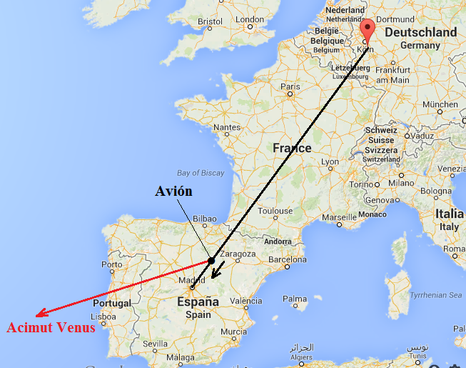 acimut del planeta Venus y trayectoria del avión