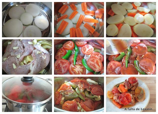 Pollo a la cazuela con verduras en su jugo sin grasa