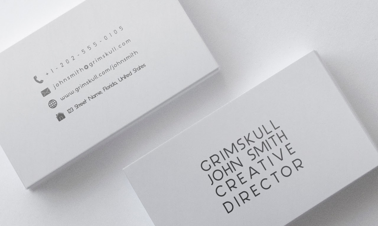 Minimalist white business card template grimskull art minimalist white business card template wajeb
