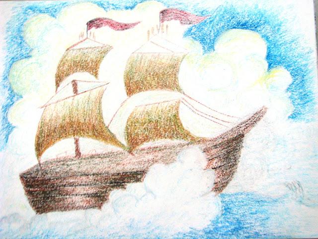 Ship - Oil Pastel