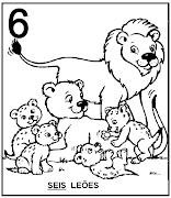 Atividades com Numerais. Seis leões