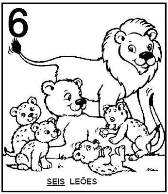 Atividades com Numerais - Leões para colorir