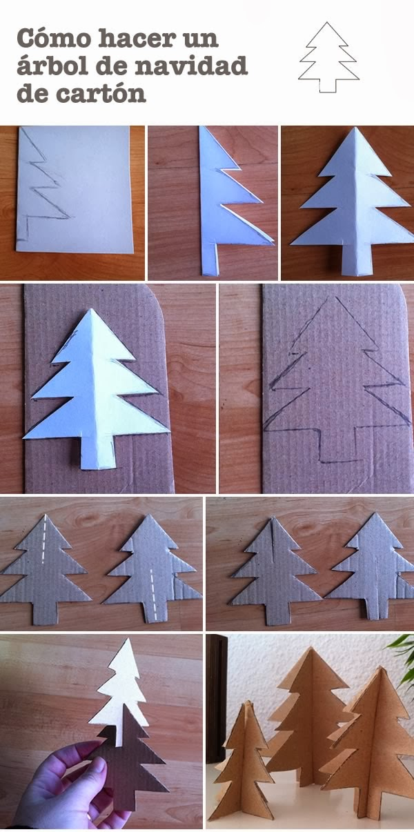 Manualidades c mo hacer un rbol para navidad de cart n - Manualidades de navidad para ninos paso a paso ...