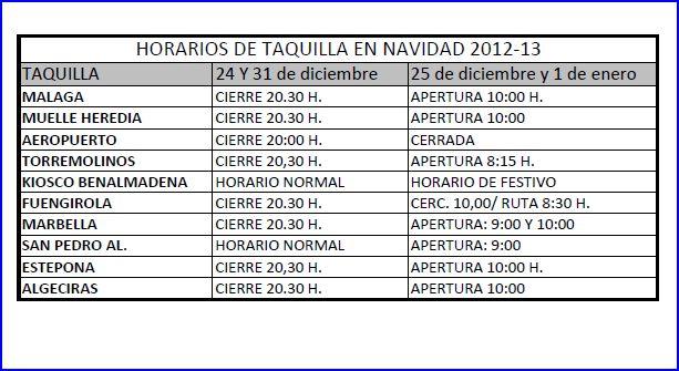 P o r t i l l e r o s horarios de navidad 2012 for Horario oficina correos malaga