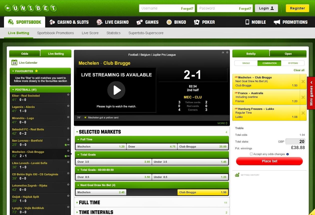 Unibet Live Betting Screen