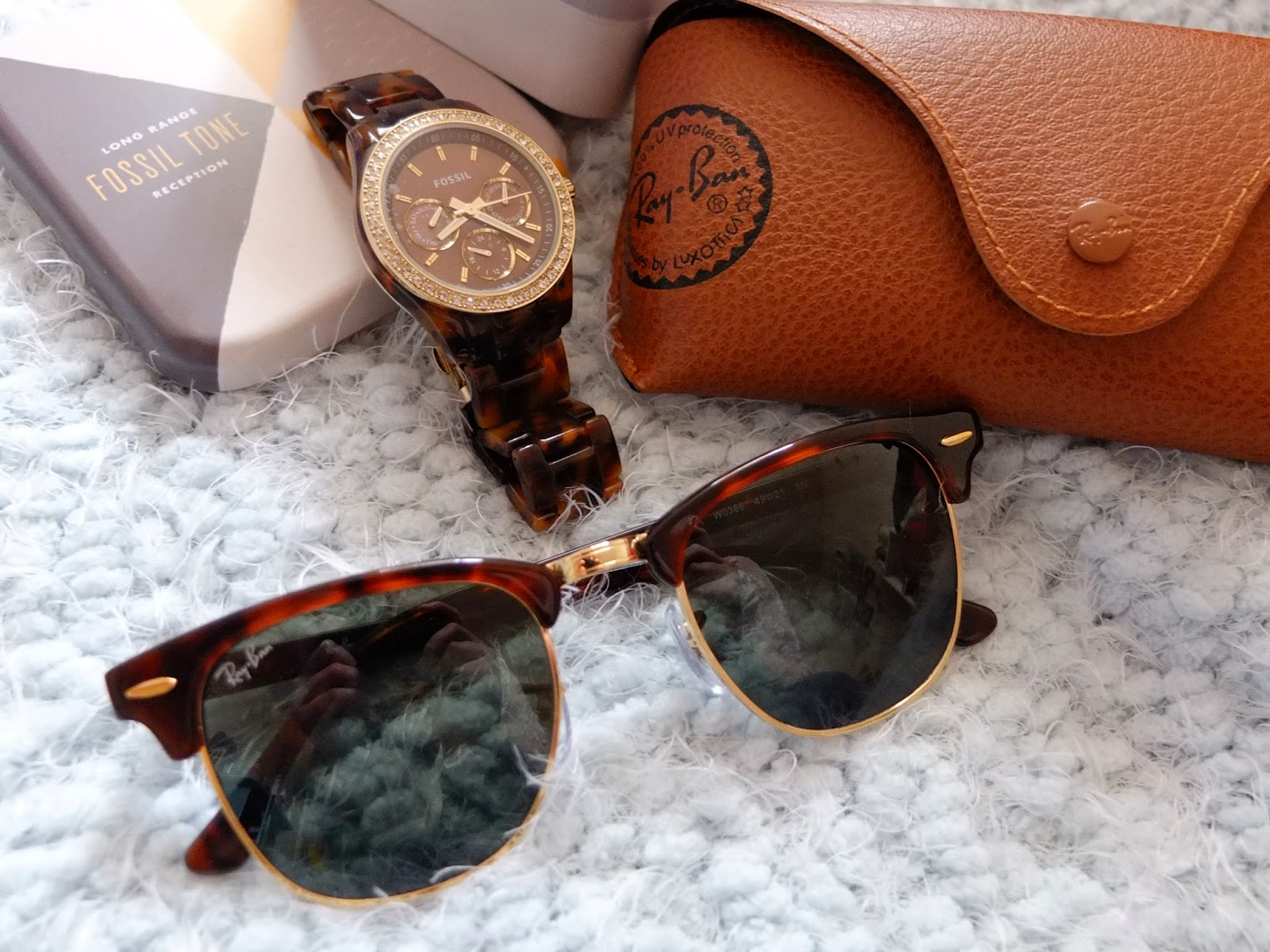 Tortoiseshell accessories featuring Fossil Watch and RayBan Clubmaster sunglasses on Hello Terri Lowe UK blog.