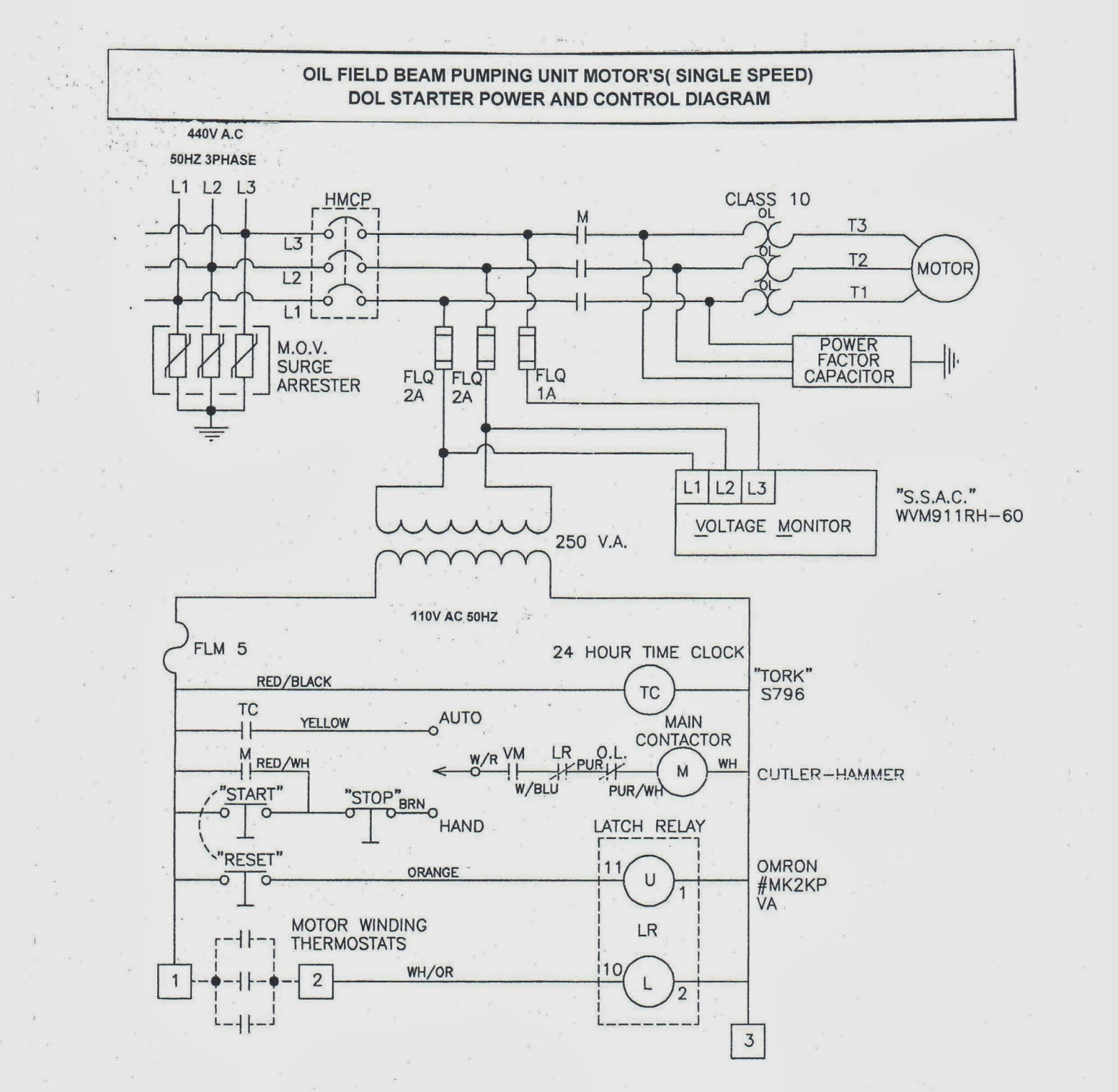 OIL FIELD BEAM PUMPING UNIT MOTOR DOL STARTER POWER AND CONTROL DIAGRAM