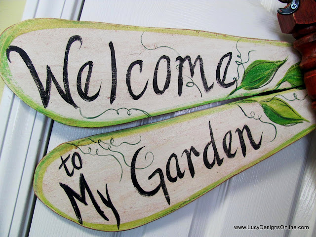 welcome to my garden wooden dragonfly wings hand painted