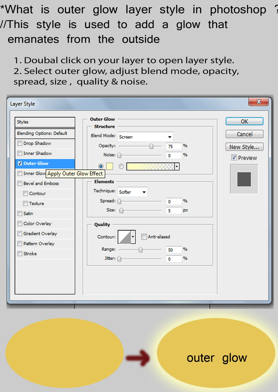 1. Doubal Click On Your Layer To Open Layer Style. 2. Select Outer Glow,  Adjust Blend Mode, Opacity, Spread, Size , Quality U0026 Noise.