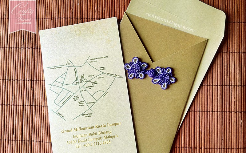 Grand Millennium Kuala Lumpur, Gold and Purple Chinese Button Wedding Invitation Card for Chinese Wedding Reception