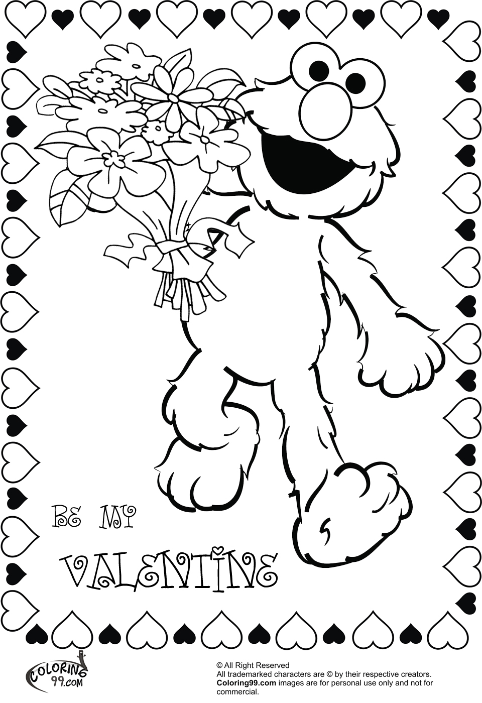 elmo with flower bouquet for valentine coloring pages