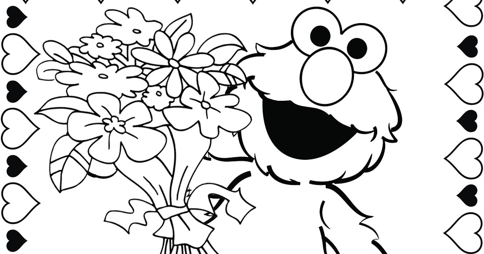 Elmo valentine coloring page
