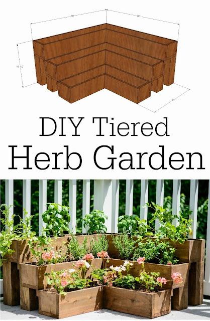DIY herb garden tiered planter
