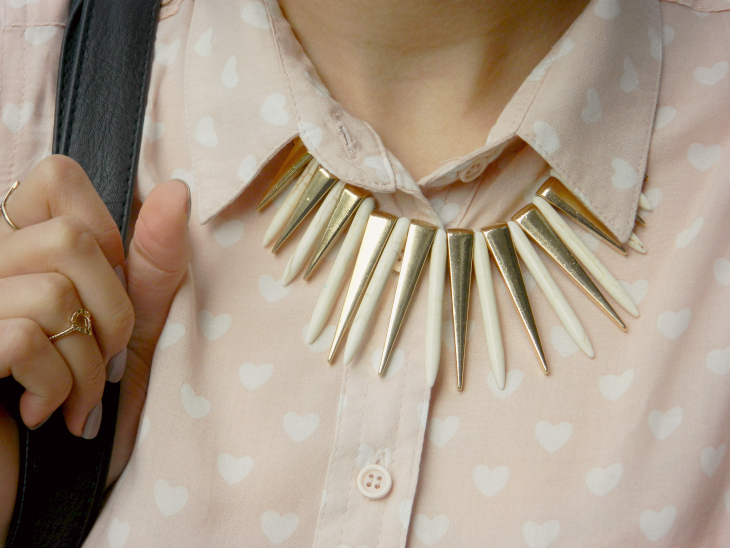 Love From Lisa Fashion: Heart Print Shirt & Statement Necklace