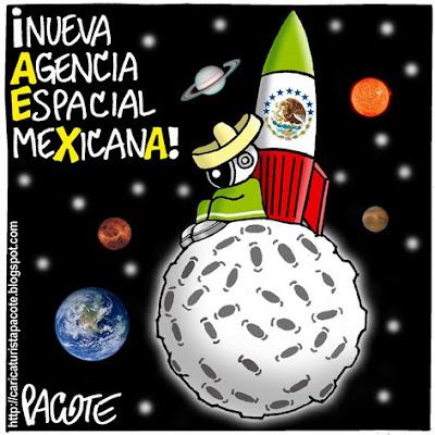 aem charro mexicano nasa cohete dibujo cartón