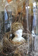 Vintage Doll Head in Nest