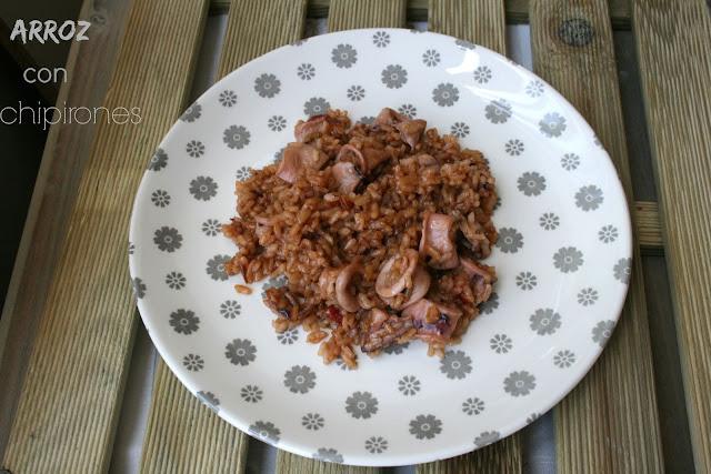 arroz, chipirones, arroz con chipirones