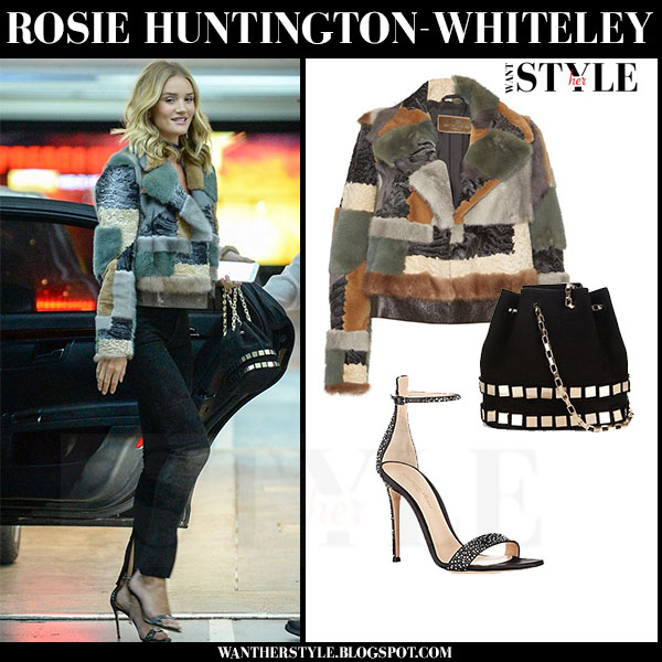 Rosie Huntington-Whiteley in patchwork fur Etro jacket and skinny paige jeans what she wore winter streetstyle