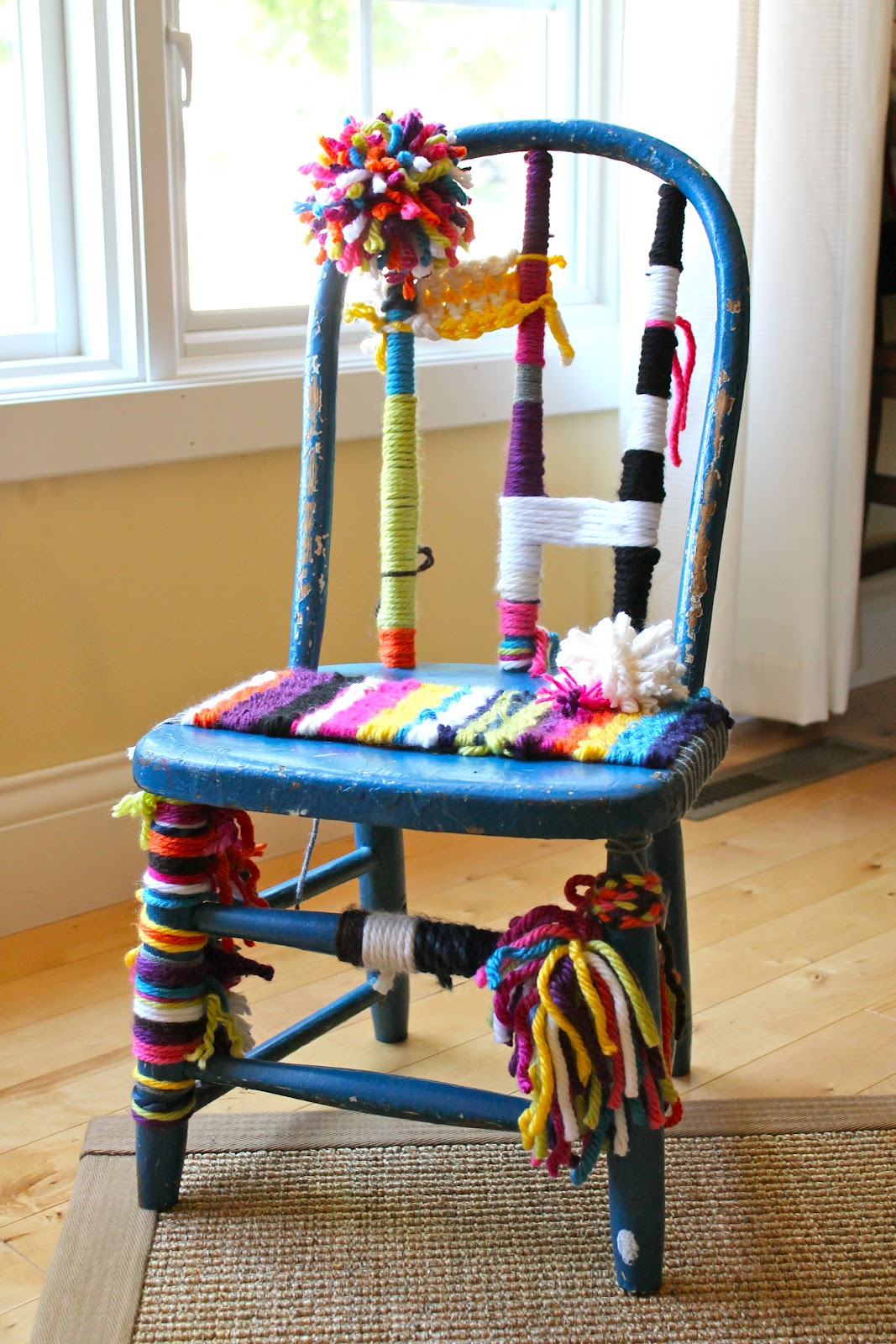 Polka Dot Pocket: Yarn Bomb - Vintage Chair
