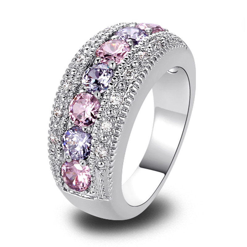 Nhẫn nữ Exquisite Women Jewelry Round Cut Pink & White Sapphire Band Silver