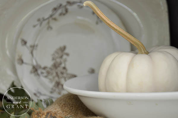 Simple display for fall with a collection of ironstone and brown transferware.  |  www.andersonandgrant.com