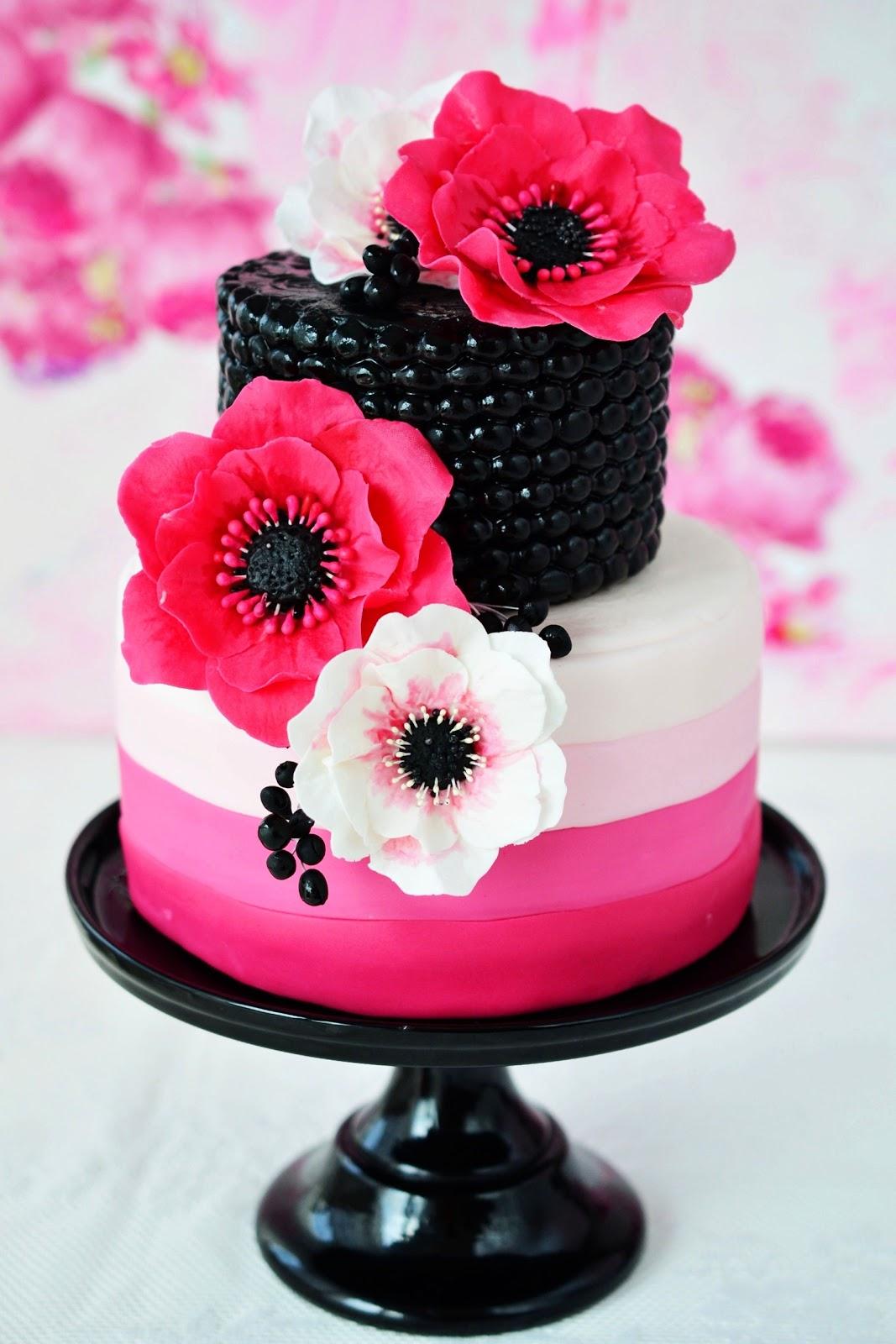 Kessys Pink Sugar: Pinke Anemonen Torte - Unwired anemones