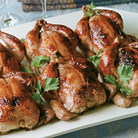 Glazed Roasted Cornish Game Hens with Couscous Stuffing
