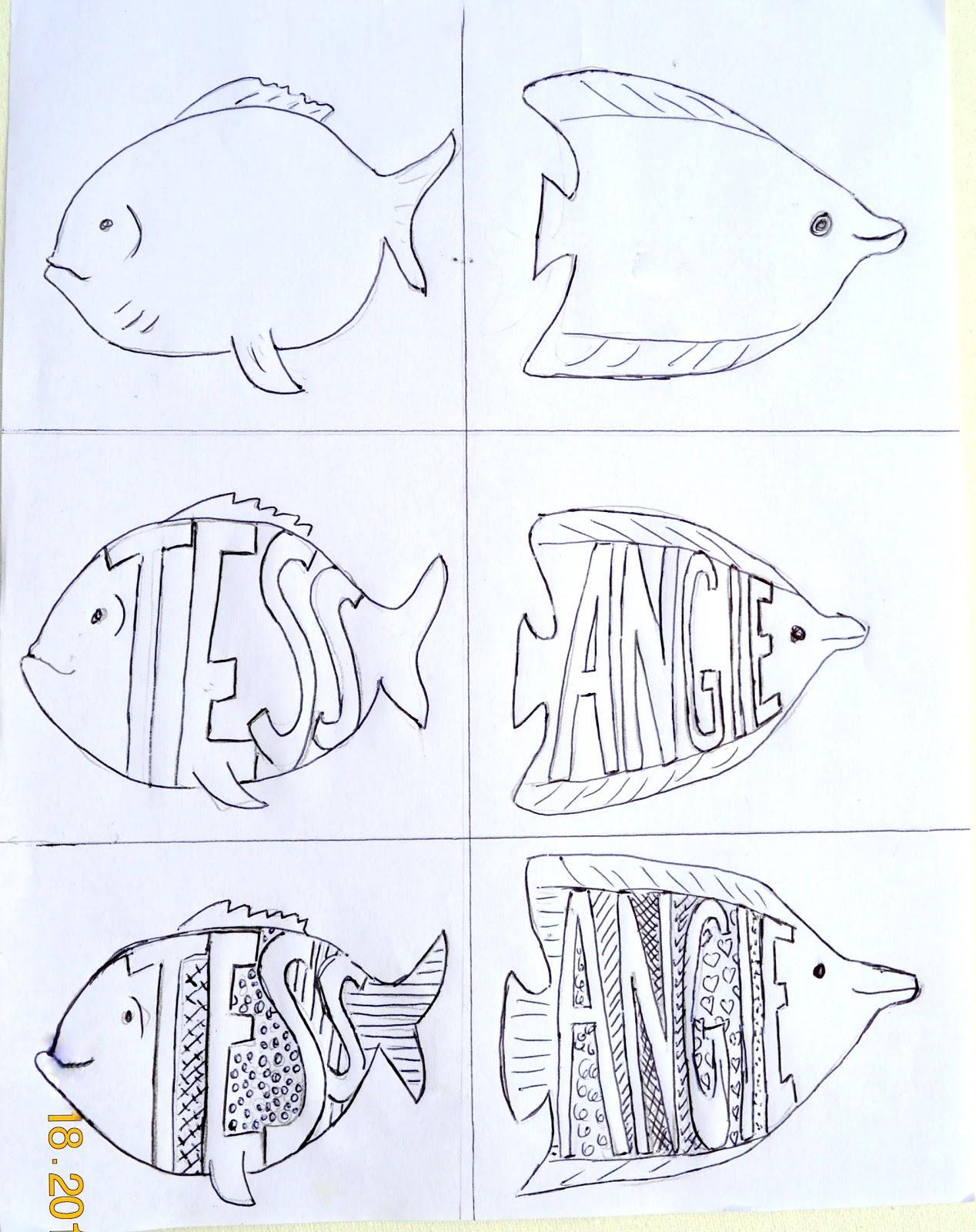Fish Pattern Drawing Patterned Name Fish