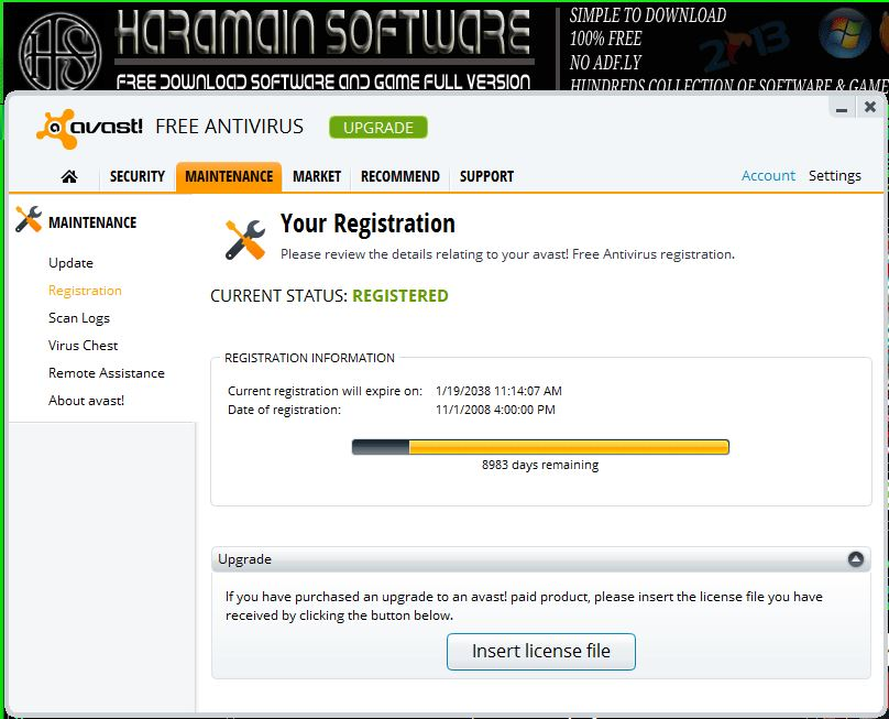 Download Avast Free Antivirus 8.0.1489 + Serial Active Until 2038