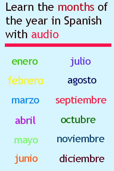 Months of the year in Spanish. Visit www.soeasyspanish.com