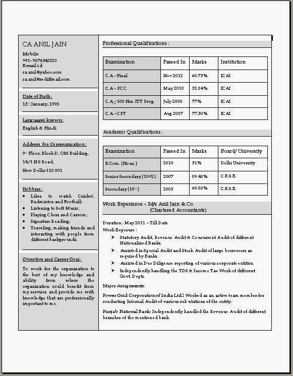 Resume templates 1 chartered accountant resume in doc download resume templates yelopaper Image collections