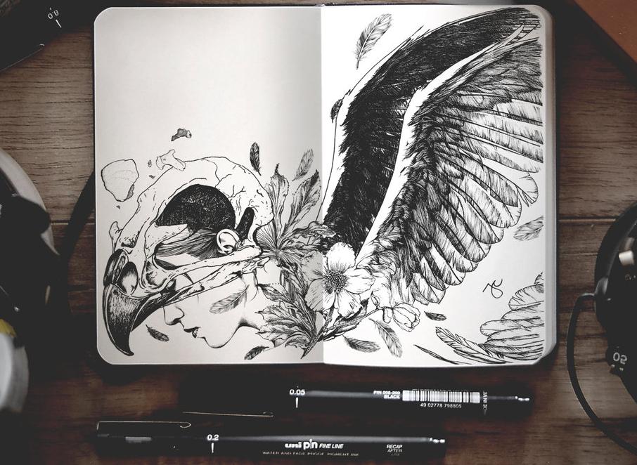 21-Soar-Joseph-Catimbang-Pentasticarts-Metaphysical-and-Surreal-Doodle-Drawings-www-designstack-co