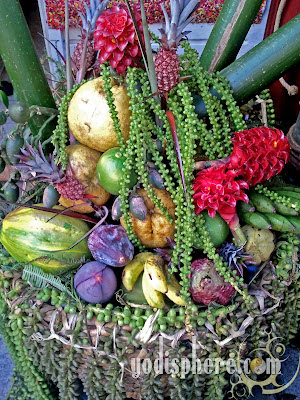Basket of colorful tropical fruits