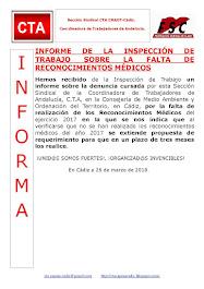 INFORME DE LA INSPECCIÓN DE TRABAJO SOBRE LA FALTA DE RECONOCIMIENTOS MÉDICOS