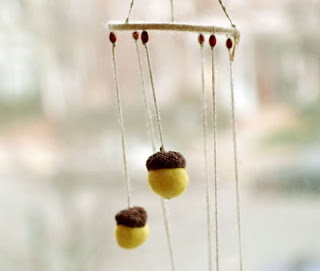 yellow felted acorns wind chime