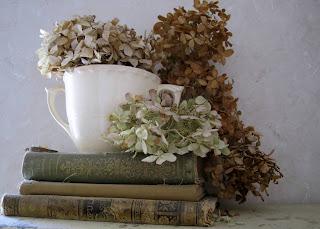 natural decor dried hydrangeas antique books display