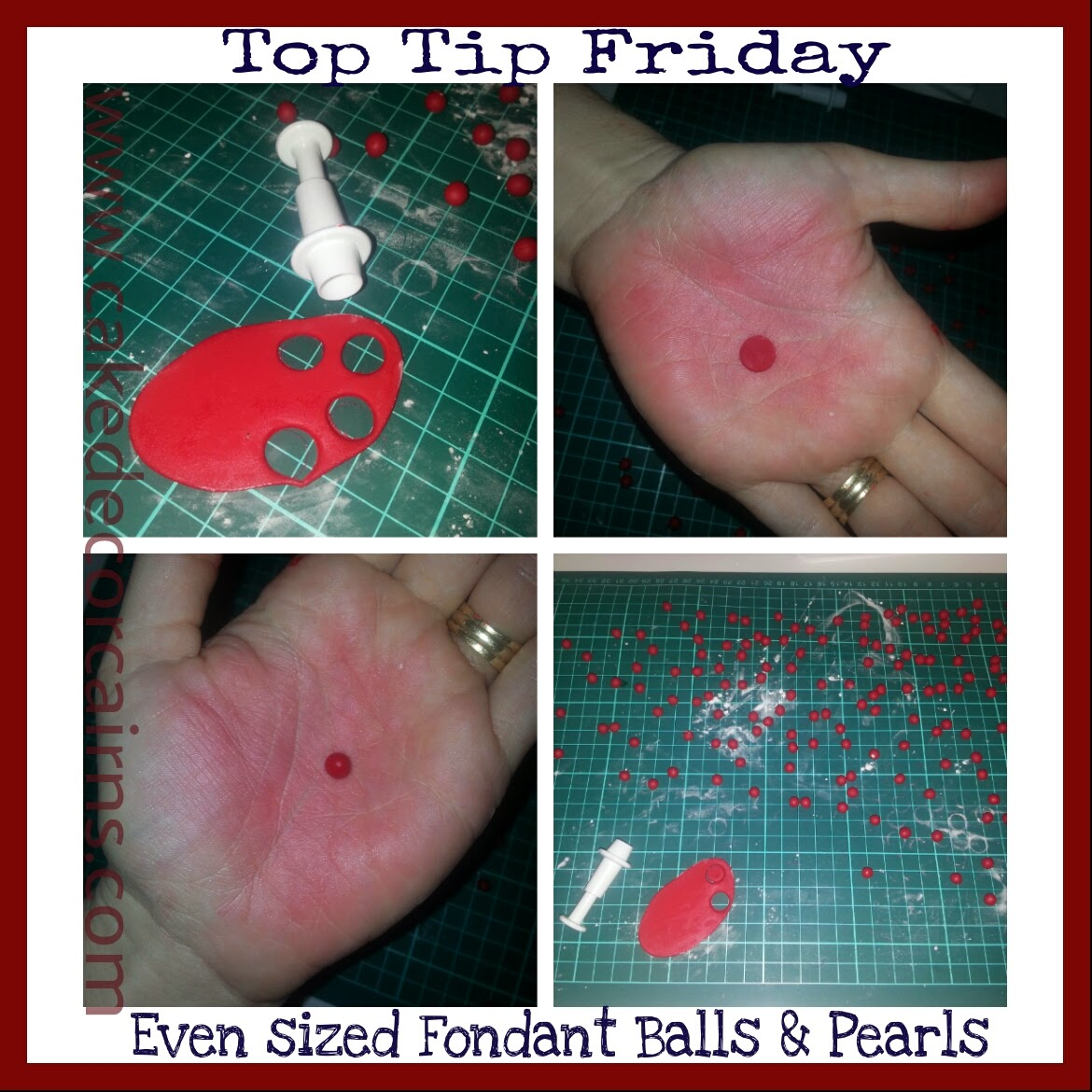 Mini Tutorial.  How to make even sized fondant pearls & balls.