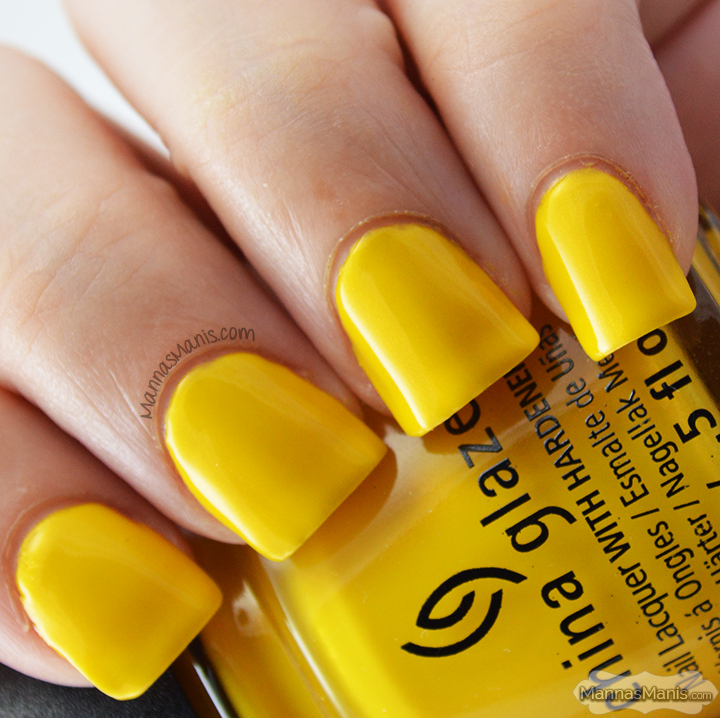 China Glaze Road Trip Sun's Up Top Down, a bright yellow creme nail polish