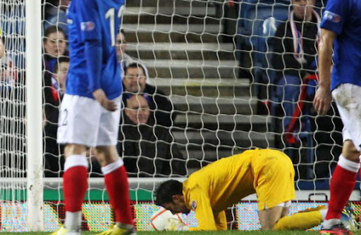 Glasgow Rangers goalkeeper Neil Alexander can't believe what he had just done
