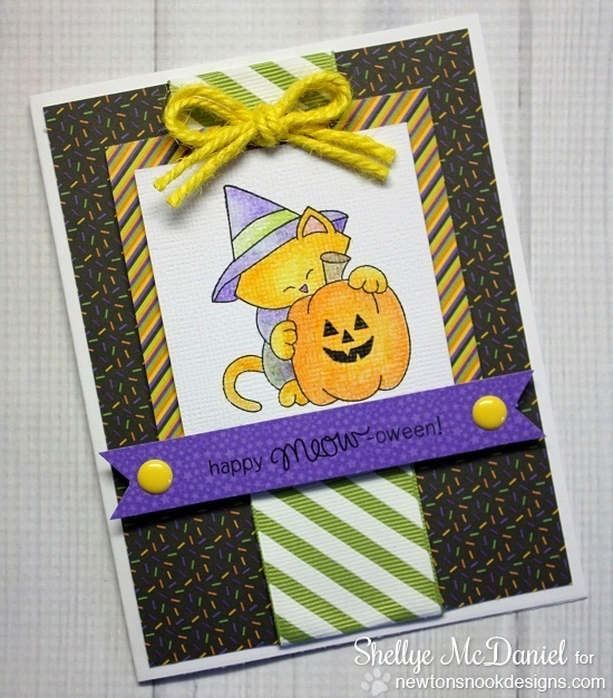 Cat Halloween Card by Shellye McDaniel for Newton's Nook Designs | Newton's Perfect Pumpkin Stamp Set