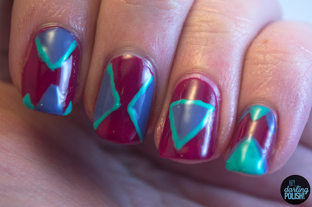 nails, nail art, nail polish, triangles, purple, turquoise, hey darling polish