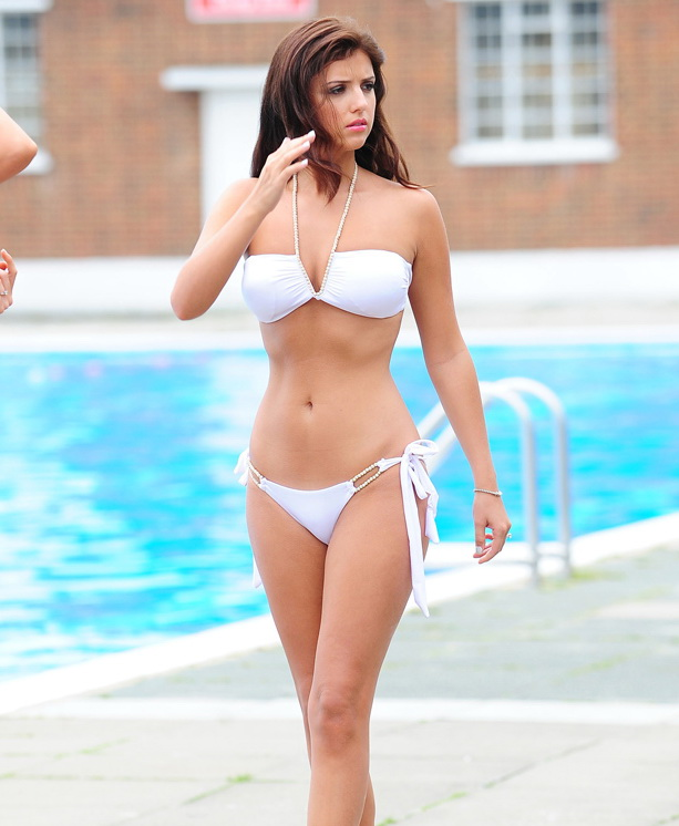 Lucy Mecklenburgh looks amazing ina white two piece bikini